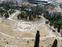 Ateny, widok theatre Dionysus zdjęcia royalty free