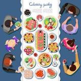 Atering parti för Ð-¡ med folk och en tabell av disk royaltyfri illustrationer