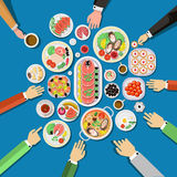 Сatering party with people hands and a table Royalty Free Stock Images