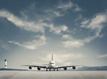 Aterragem de avião do passageiro imagem de stock