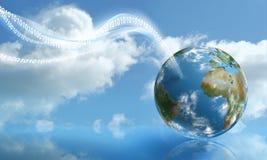 Aterragem de Digitas com computação da nuvem ilustração royalty free