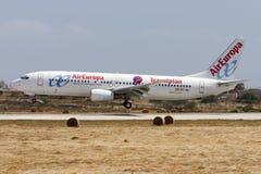 737-800 aterrando Foto de Stock Royalty Free