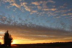 Aterrice si puesta del sol de vida de Saskatchewan de los cielos Imagen de archivo libre de regalías