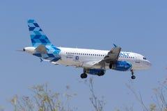 Aterrissagem de Airbus do ar do cobalto Foto de Stock Royalty Free