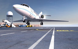 Aterrissagem de avião na pista de decolagem Fotografia de Stock Royalty Free