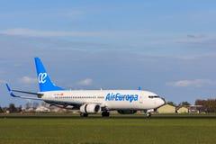 Aterrissagem de aviões das linhas aéreas de Air Europa Fotos de Stock Royalty Free