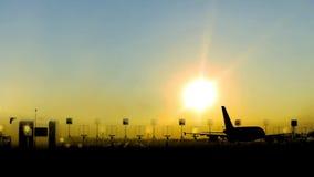 Aterrissagem de aviões do passageiro no crepúsculo vídeos de arquivo