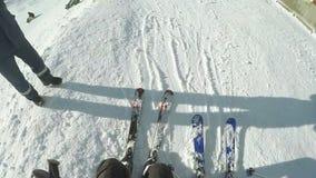 Aterrissagem do elevador de esqui video estoque