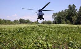 Aterrissagem do helicóptero Fotografia de Stock