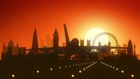 Aterrissagem do nascer do sol da skyline do avião de Londres ilustração royalty free