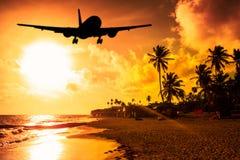 Aterrissagem do por do sol Fotografia de Stock