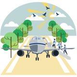 Aterrissagem em passageiros dos aviões No vetor liso dos desenhos animados minimalistas do estilo ilustração do vetor