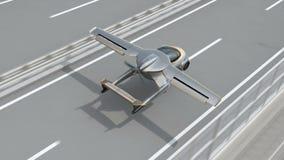 Aterrissagem futurista do carro do voo na estrada