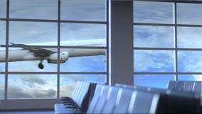 Aterrizaje de aeroplano comercial en el aeropuerto internacional de Almaty El viajar a la animación conceptual de la introducción ilustración del vector