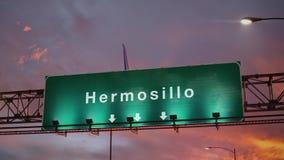 Aterrizaje de aeroplano Hermosillo durante una salida del sol maravillosa stock de ilustración
