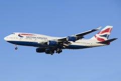 Aterrizaje de aviones British Airways Imagenes de archivo