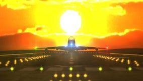 Aterrizaje de aviones delante de la puesta del sol ilustración del vector