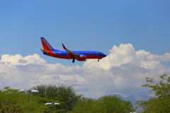 Aterrizaje de Boeing 737 del sudoeste Foto de archivo