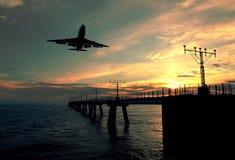Aterrizaje de la puesta del sol Fotos de archivo libres de regalías