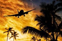 Aterrizaje de la puesta del sol Fotografía de archivo libre de regalías