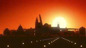 Aterrizaje de la salida del sol del horizonte de Jackson Mississippi los E.E.U.U. América almacen de metraje de vídeo