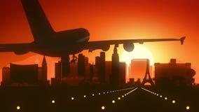 Aterrizaje de la salida del sol del horizonte de Las Vegas Nevada los E.E.U.U. América fotos de archivo libres de regalías