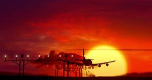 Aterrizaje de la silueta del aeroplano en puesta del sol metrajes