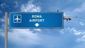 Aterrizaje del avión de reacción en Roma almacen de video