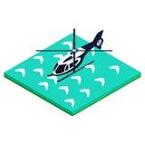 Aterrizaje del helicóptero en el agua Ilustración del Vector