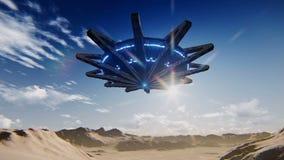 Aterrizaje del platillo volante en las imágenes de vídeo del desierto