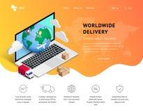 Aterrizaje del servicio de entrega con el ordenador portátil, iconos stock de ilustración