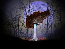 Aterrizaje del UFO debajo de la luna azul libre illustration