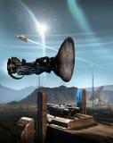 Aterrizaje en base del espacio en el planeta extranjero stock de ilustración