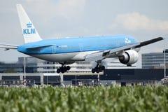 Aterrizaje plano del KLM Boeing Foto de archivo