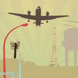 Aterrizaje plano en la ciudad de Grunge Foto de archivo libre de regalías