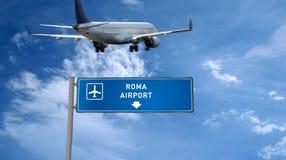Aterrizaje plano en Roma con el letrero ilustración del vector
