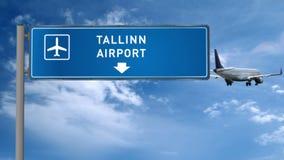 Aterrizaje plano en Tallinn con el letrero metrajes