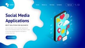 Aterrizaje social isométrico de los usos de los medios ilustración del vector