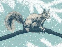 Atesore el dibujo, tarjeta del invierno stock de ilustración