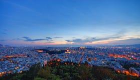 Athènes après coucher du soleil Photographie stock