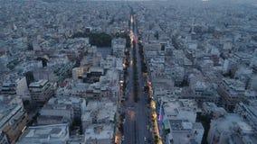 Athènes au crépuscule, vue aérienne banque de vidéos