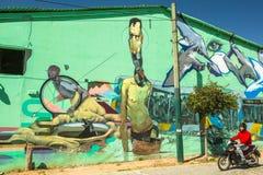 ATHÈNES, GRÈCE - art contemporain de graffiti sur des murs de ville Image libre de droits