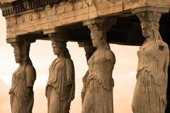 Athènes, Grèce - cariatides de l'erechteum Images libres de droits