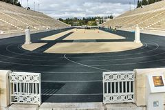 ATHÈNES, GRÈCE - 20 JANVIER 2017 : Panorama de stade ou de kallimarmaro de Panathenaic à Athènes Photo stock