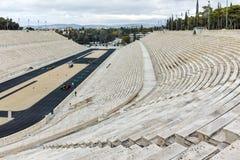 ATHÈNES, GRÈCE - 20 JANVIER 2017 : Panorama de stade ou de kallimarmaro de Panathenaic à Athènes Image stock