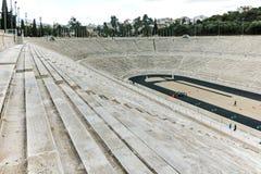 ATHÈNES, GRÈCE - 20 JANVIER 2017 : Panorama de stade ou de kallimarmaro de Panathenaic à Athènes Images stock