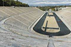 ATHÈNES, GRÈCE - 20 JANVIER 2017 : Vue étonnante de stade ou de kallimarmaro de Panathenaic à Athènes Photos libres de droits
