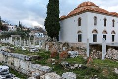 ATHÈNES, GRÈCE - 20 JANVIER 2017 : Vue de coucher du soleil de Roman Agora à Athènes, Attique Photos stock
