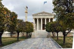 ATHÈNES, GRÈCE - 20 JANVIER 2017 : Vue panoramique d'académie d'Athènes, Attique Photographie stock