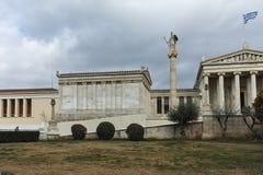 ATHÈNES, GRÈCE - 20 JANVIER 2017 : Vue panoramique d'académie d'Athènes, Attique Photographie stock libre de droits